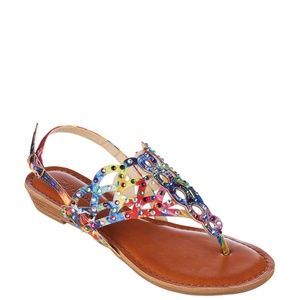 New Zigi Soho Mariane Pink Multi Flat Sandals